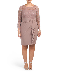 Plus Long Sleeve Lace Dress