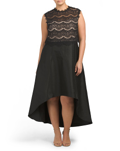 Plus Sleeveless Lace Gown With Hi-lo Hem