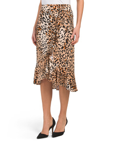 Animal Print Skirt With Tie Front
