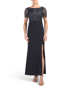 Petite Short Sleeve Embellished Gown
