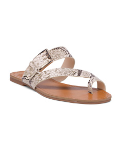 Snake Print Toe Ring Leather Sandals