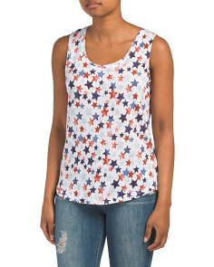 Linen Printed Tank With Side Slits