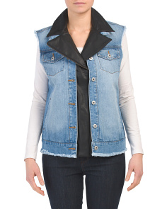 Juniors Denim Vest With Faux Leather Trim