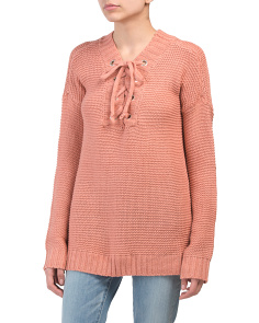 Juniors Rib Knit Lace Up V-neck Sweater