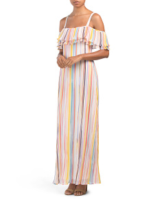 Cold Shoulder Pleated Maxi Dress