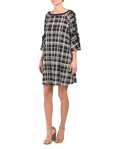 Windowpane Print Jersey Dress