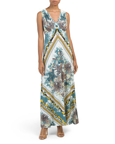 V-neck Scarf Print Maxi Dress