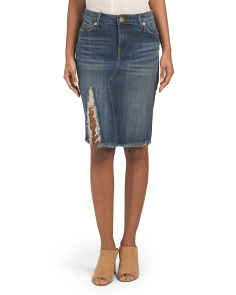 Denim Midi Skirt With Destruction