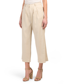 Petite Pleated Wide Linen Blend Pants