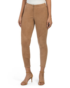 Petite Slim Suede Pants With Leg Zips