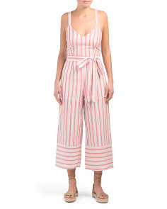 Juniors Stripe Front Tie Jumpsuit