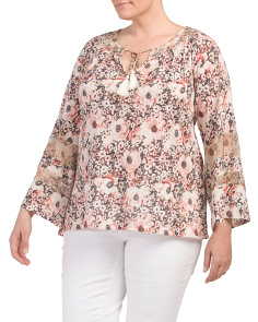Plus Printed Woven Mix Peasant Top