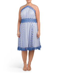 Plus Silk Blend Striped Dress