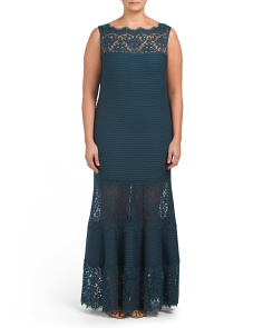 Plus Sleeveless Lace Pintuck Gown
