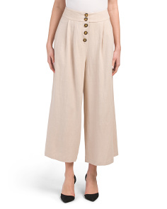 Juniors Linen Lux Front Button Up Pants