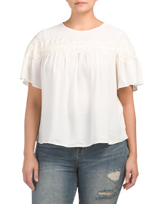 Plus Short Sleeve Lace Top