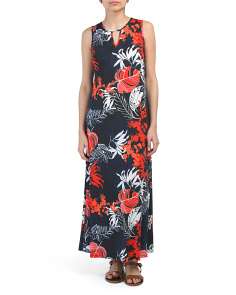 Petite Made In Usa Sleeveless Leaf Print Maxi Dress