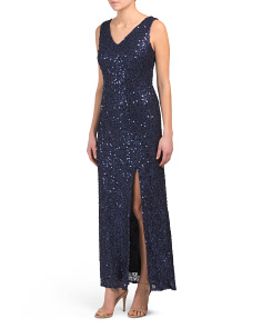 Petite Sequin V Front And Back Dress