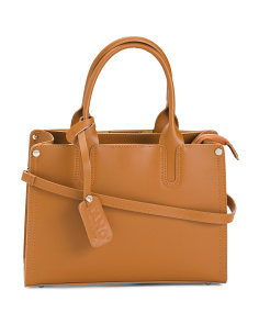 Made In Italy Triple Pocket Leather Satchel