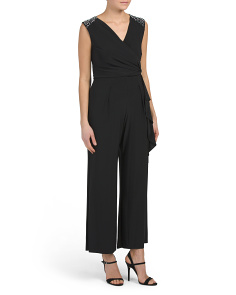 Petite Surplice Sleeveless Jumpsuit