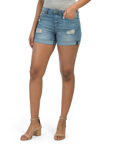 Relaxed Roll Up High Rise Denim Shorts