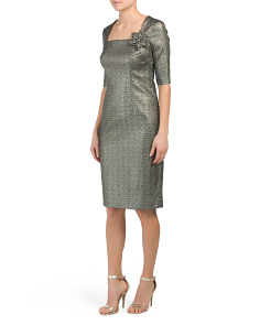 Stretch Metallic Square Neck Dress