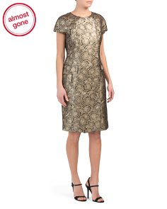 Cap Sleeve Metallic Jacquard Dress