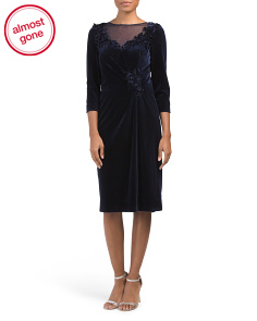 Stretch Velvet Applique Dress