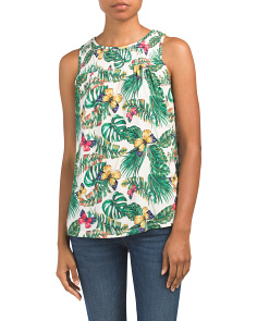 Sleeveless Crew Neck Printed Top