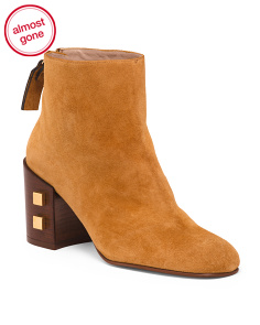 Made In Spain Suede Block Heel Booties