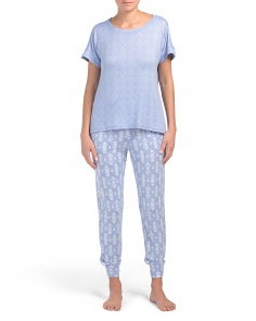 Serenity Geo Tee Jogger Set Whisper Knit Top