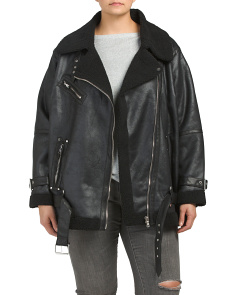 Plus Faux Leather Sherpa Biker Jacket