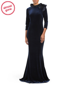 Velvet Gown With Taffeta Layer Neck Detail