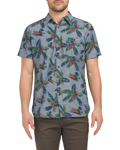 Short Sleeve Tropical Print Chambray Shirt