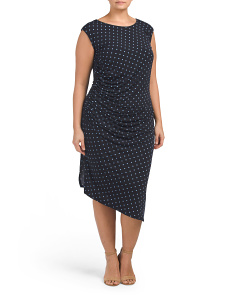 Plus Cap Sleeve Romantic Dot Dress