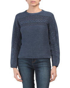 Washed Cable Knit Sweater