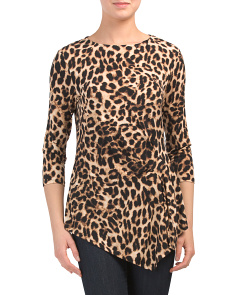 Side Ruched Leopard Blouse