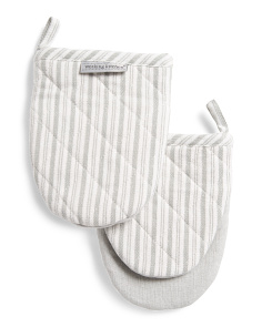 Striped Oven Mitts