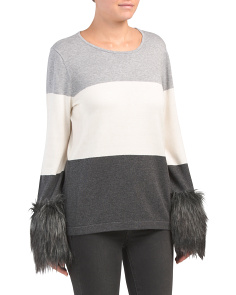 Faux Fur Cuff Color Block Sweater