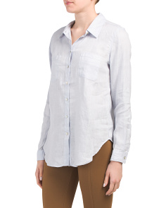 Linen Button Front Two Pocket Shirt