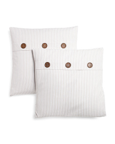 2pk 20x20 Stripe Button Pillow