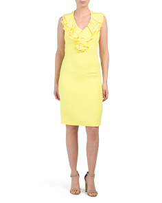 Ruffle Front Sheath Dress