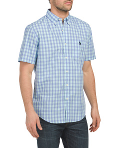 Short Sleeve Classic Fit Poplin Check Shirt