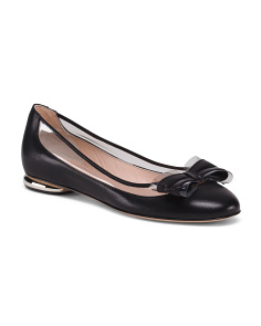 Made In Italy Leather Flats With Bow Detail