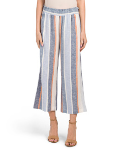 Linen Blend Striped Smocked Waist Pants
