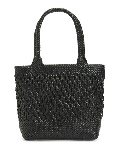 Made In Italy Leather Nodo Woven Tote