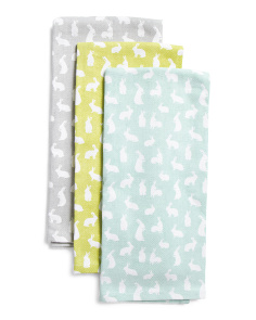 3pk Bunny Silhouette Kitchen Towels