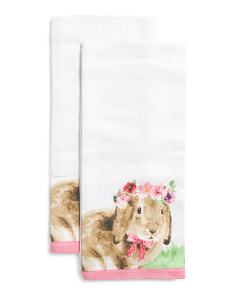 2pk Flower Crown Bunny Kitchen Towels