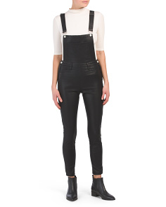 All Good Faux Leather Overalls