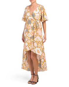 Juniors Status Print Wrap Midi Dress